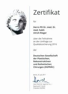 Zertifikat DGPRÄC 2016